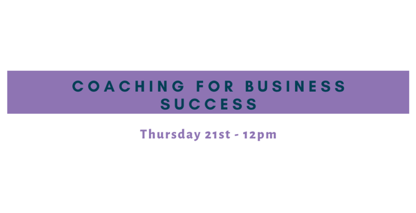 Banner describing event on coaching for business success